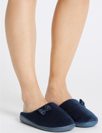 Marks & Spencer Spotted Bow Mule Slippers Navy