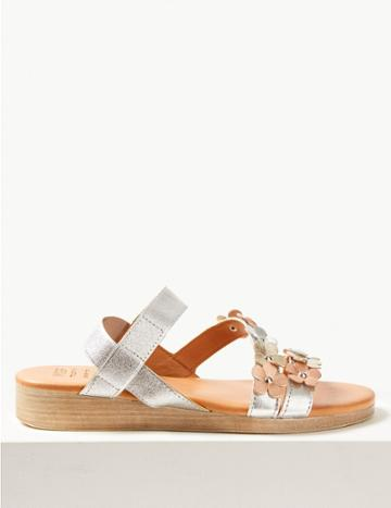 Marks & Spencer Leather Two Band Sandals Silver