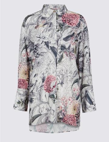 Marks & Spencer Printed Longline Long Sleeve Shirt Ivory Mix