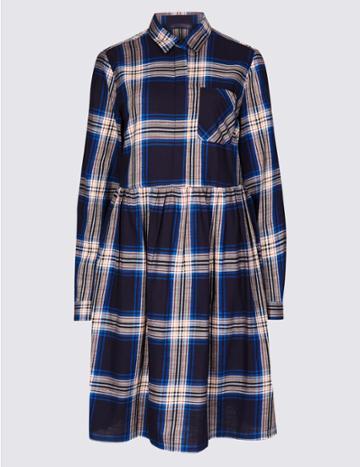 Marks & Spencer Petite Pure Cotton Checked Drop Waist Dress Navy Mix