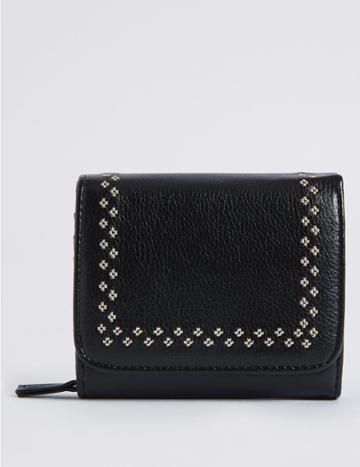 Marks & Spencer Faux Leather Twin Needle Purse With Cardsafe™ Black Mix