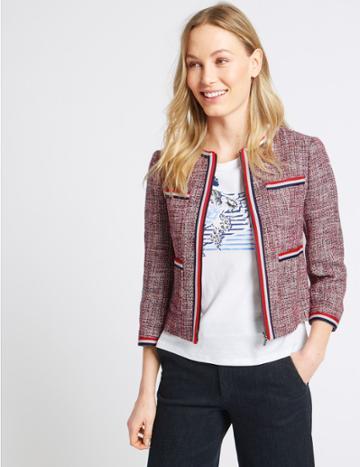 Marks & Spencer Cotton Rich Contrast Trim Textured Blazer Red Mix