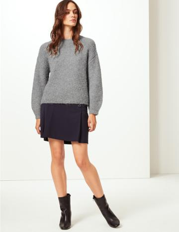 Marks & Spencer Cosy Round Neck Jumper Mid Grey Marl