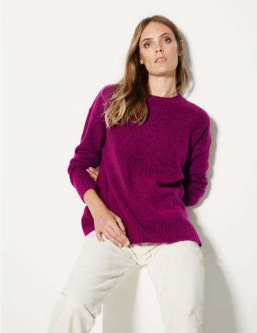 Marks & Spencer Relaxed Supersoft Round Neck Jumper Magenta