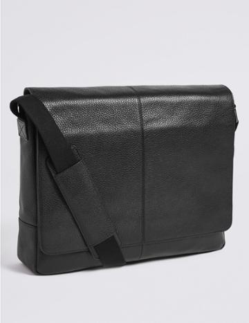 Marks & Spencer Leather Rambler Messenger Bag Black
