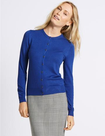 Marks & Spencer Ribbed Round Neck Cardigan Sapphire