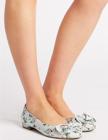 Marks & Spencer Extra Wide Fit Bow Ballet Pumps Aqua Mix