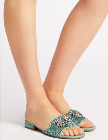Marks & Spencer Block Heel Jewel Sparkle Mule Sandals Mint