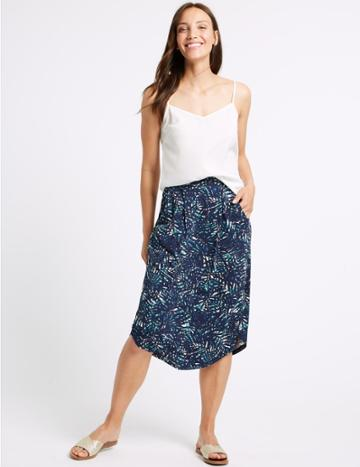 Marks & Spencer Printed Jersey A-line Skirt Green Mix