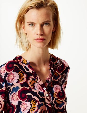 Marks & Spencer Floral Print Blouse Navy Mix