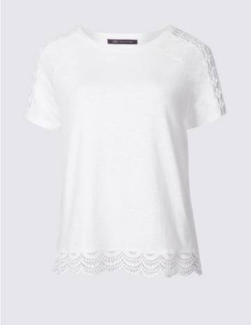 Marks & Spencer Pure Cotton Lace Detail T-shirt Soft White