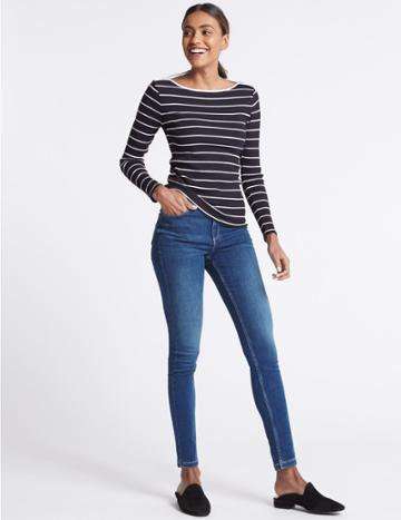Marks & Spencer Sculpt & Lift Mid Rise Skinny Leg Jeans Medium Blue