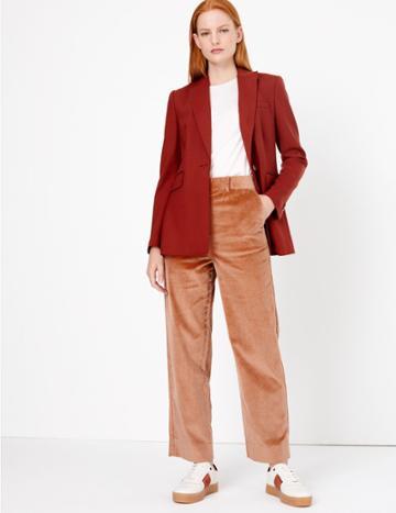 Marks & Spencer Corduroy Straight Leg Ankle Grazer Trousers Light Terracotta