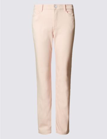Marks & Spencer Sateen Roma Rise Straight Leg Jeans Blush