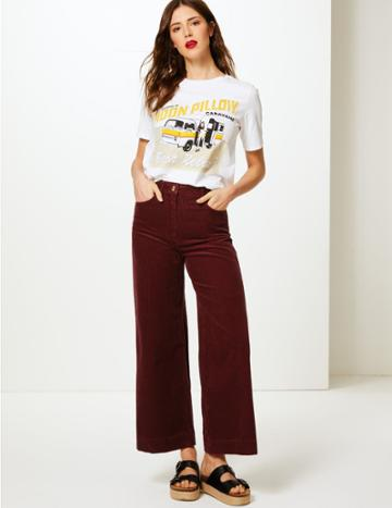 Marks & Spencer Pure Cotton Wide Leg Ankle Grazer Trousers Burgundy