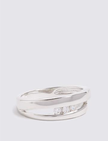 Marks & Spencer Sterling Silver Triple Stone Open Ring Silver Mix