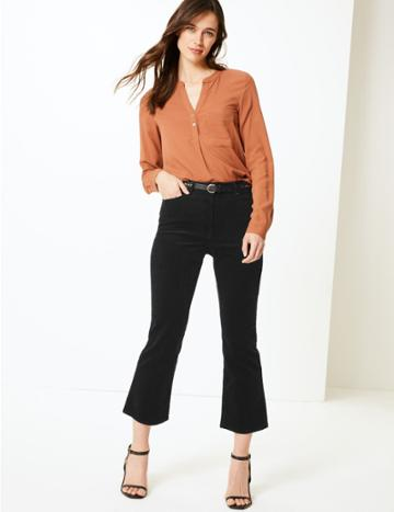 Marks & Spencer Bootcut Leg Cropped Trousers Black