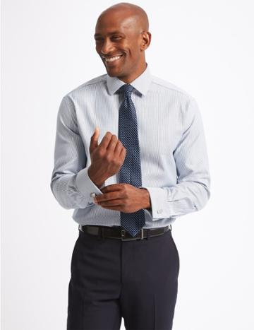 Marks & Spencer Pure Cotton Twill Tailored Fit Shirt Indigo Mix