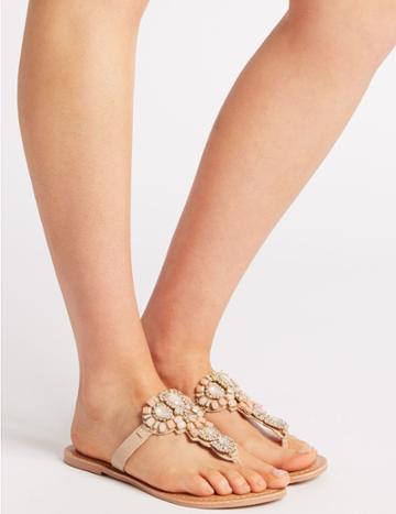 Marks & Spencer Bling Flip-flops Sandals Nude