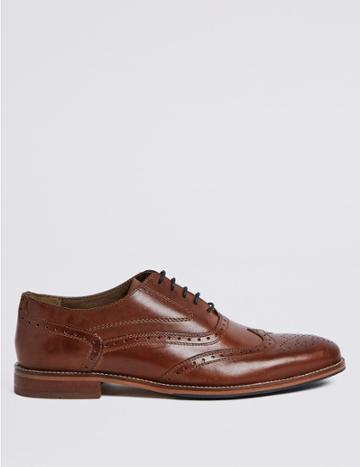 Marks & Spencer Leather Layered Sole Brogue Shoes Medium Brown
