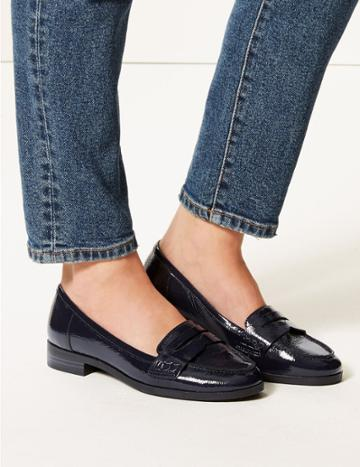 Marks & Spencer Wide Fit Leather Block Heel Loafers Navy