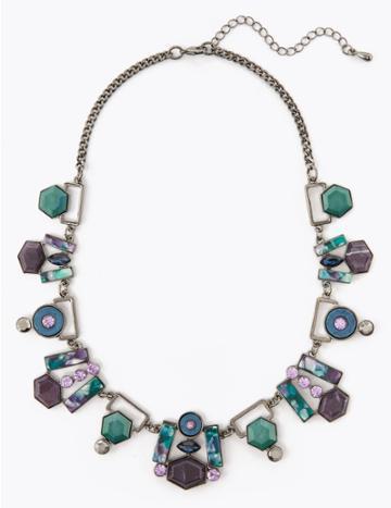 Marks & Spencer Geometric Shapes Necklace Blue Mix