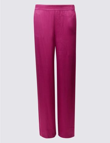 Marks & Spencer Velvet Wide Leg Trousers Magenta