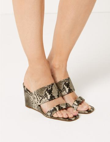 Marks & Spencer Wedge Heel Animal Print Two Band Sandals Natural Mix