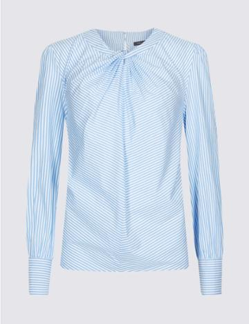 Marks & Spencer Pure Cotton Striped Twist Front Blouse Blue Mix