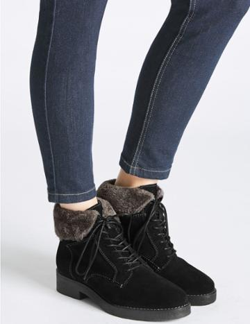 Marks & Spencer Wide Fit Suede Lace-up Ankle Boots Black