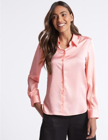 Marks & Spencer Plain Satin Sleeve Detail Shirt Blush
