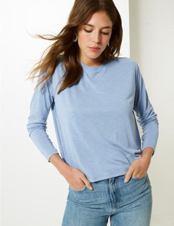 Marks & Spencer Super Soft Round Neck Long Sleeve T-shirt Periwinkle
