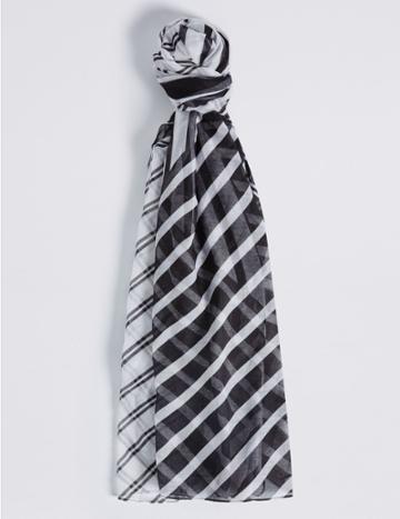 Marks & Spencer Spliced Stripe Scarf Black/white