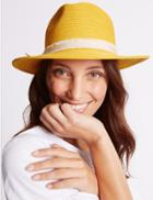 Marks & Spencer Bow Fedora Hat Yellow