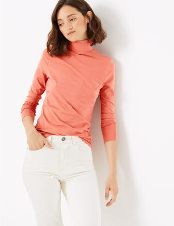 Marks & Spencer Cotton Rich Fitted Top Cinnamon Blush