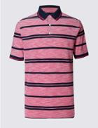 Marks & Spencer Pure Cotton Striped Polo Shirt Pink Mix