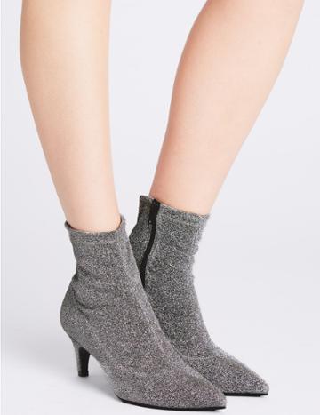 Marks & Spencer Kitten Heel Side Zip Ankle Boots Silver