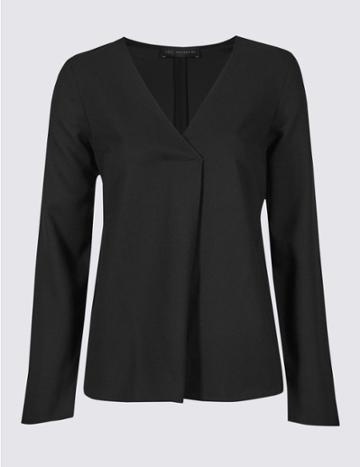 Marks & Spencer V-neck Long Sleeve Blouse Black