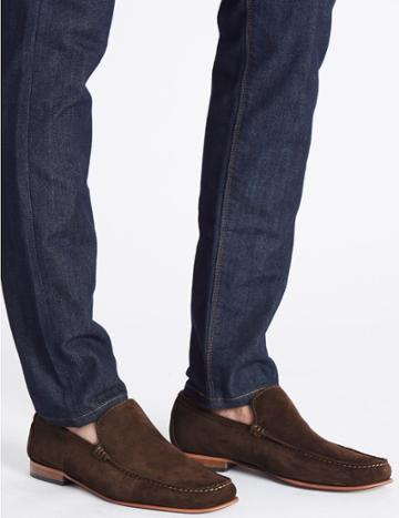 Marks & Spencer Suede Slip-on Loafers With Stain Resistance Brown