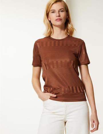 Marks & Spencer Textured Round Neck Short Sleeve T-shirt Tan