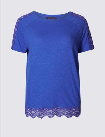 Marks & Spencer Pure Cotton Lace Detail T-shirt Iris