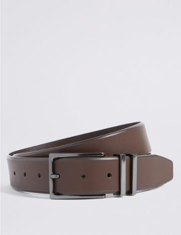 Marks & Spencer Leather Double Metal Keeper Buckle Belt Brown