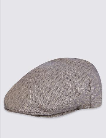 Marks & Spencer Cotton Rich Herringbone Flat Cap Navy Mix