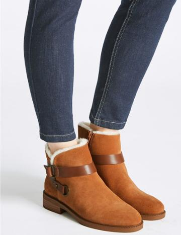 Marks & Spencer Suede Block Heel Fur Biker Ankle Boots Chestnut