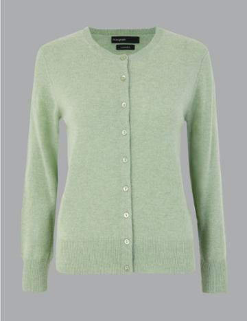 Marks & Spencer Pure Cashmere Button Detailed Cardigan Mint