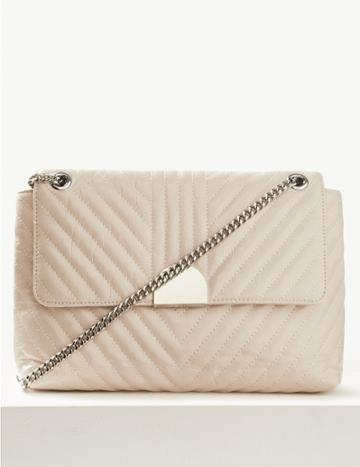 Marks & Spencer Chain Detail Quilted Shoulder Bag Light Grey