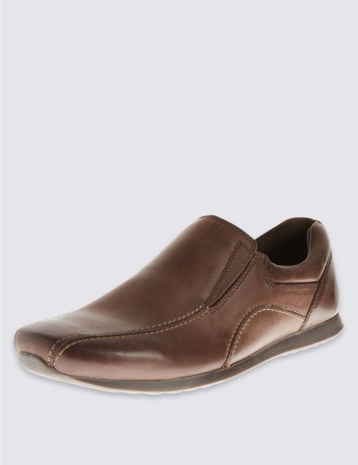 Marks & Spencer Leather Slip-on Shoes Brown