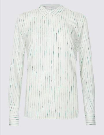 Marks & Spencer Striped Crepe Long Sleeve Shirt Cream Mix