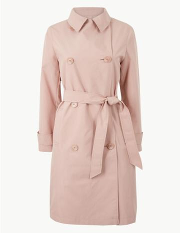 Marks & Spencer Petite Double Breasted Trench Coat Melba Blush