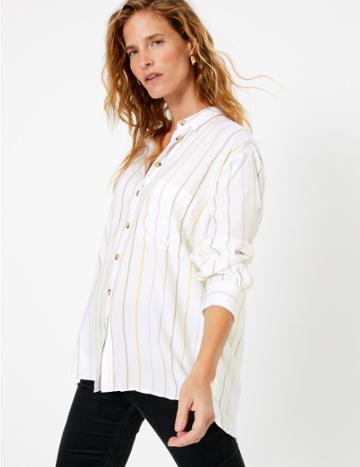 Marks & Spencer Stripe Relaxed Shirt Ivory Mix